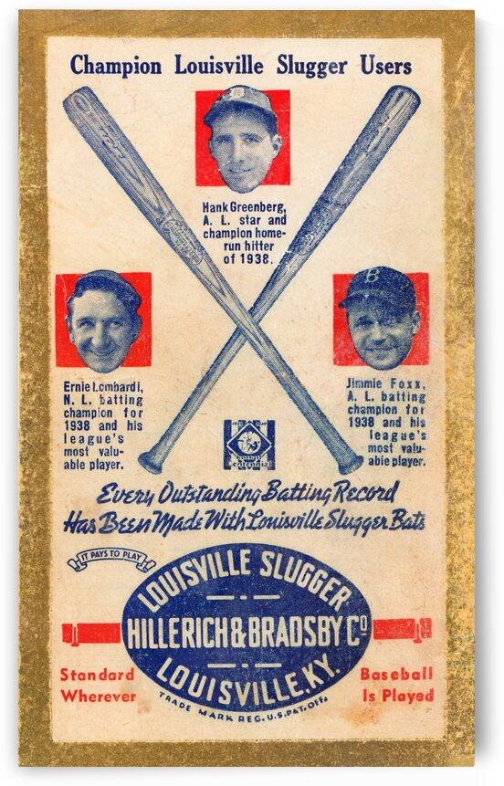 1939 Louisville Slugger Ad Poster by Row One Brand