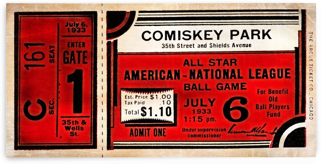1933 Comiskey Park All-Star Game Ticket Art by Row One Brand