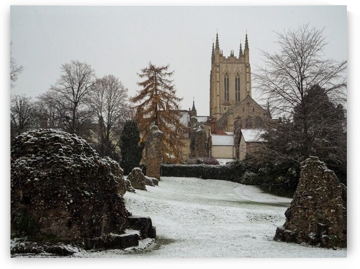 Saint Edmunds Cathedral and Ruins in the Snow by Jamie Hopper