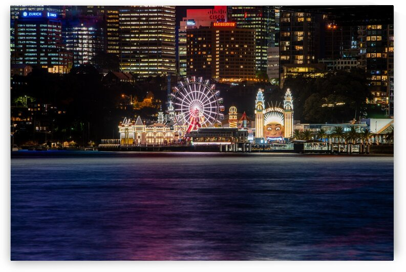 Sydney Luna Park at night by Grant Cookson