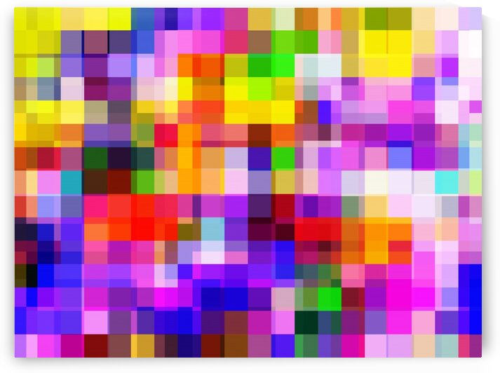 geometric square pixel pattern abstract background in purple pink yellow red by TimmyLA