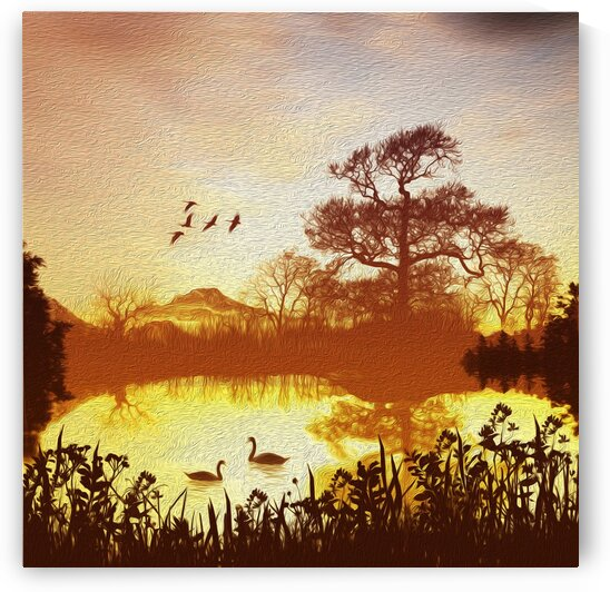 Morning on the pond. Imitation of oil painting.  by Ievgeniia Bidiuk
