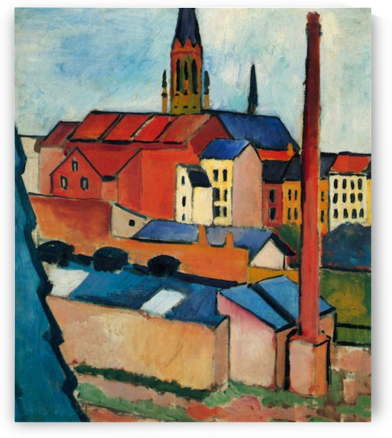St. Mary s Church with houses and chimney by Macke by Macke