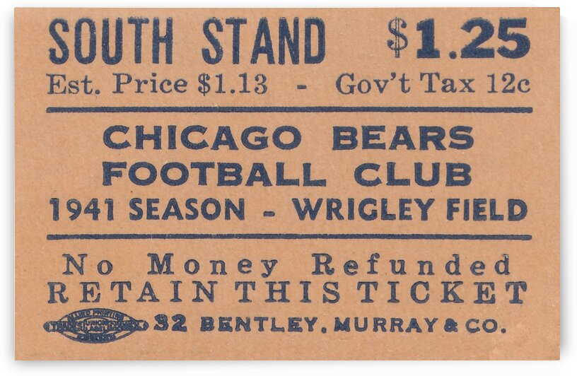 1941 NFL Champions Chicago Bears Ticket Stub Art by Row One Brand