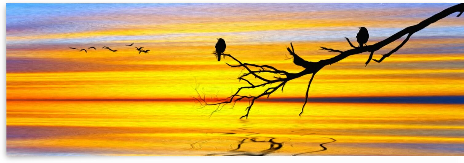 Two birds on a branch against a sunset background. Imitation of oil painting. by Ievgeniia Bidiuk