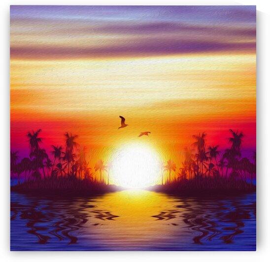 Sunny sunrise on a tropical island. Imitation of oil painting.  by Ievgeniia Bidiuk