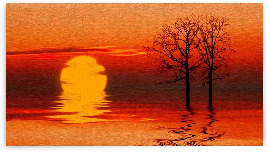 Orange horizon. Imitation of oil painting.  by Ievgeniia Bidiuk