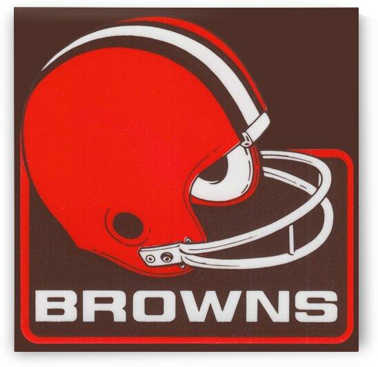 Retro Cleveland Browns Helmet Art by Row One Brand