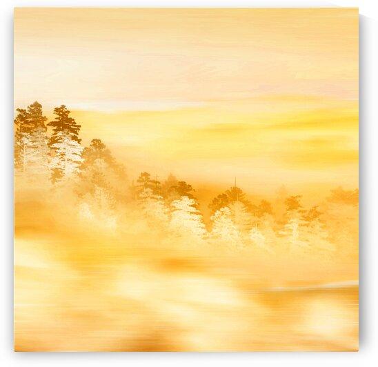 Abstract landscape in yellow. Imitation of acrylic painting. by Ievgeniia Bidiuk