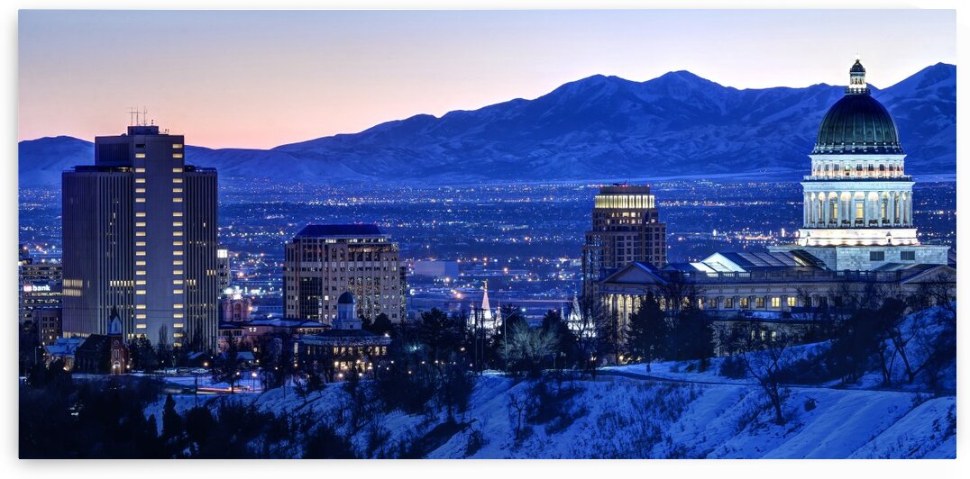 Utah State Capitol Sunset Salt Lake City Government Architecture Photography Historic Lights Night Fine Art Photo Print  Wall Decor by Gary Whitton