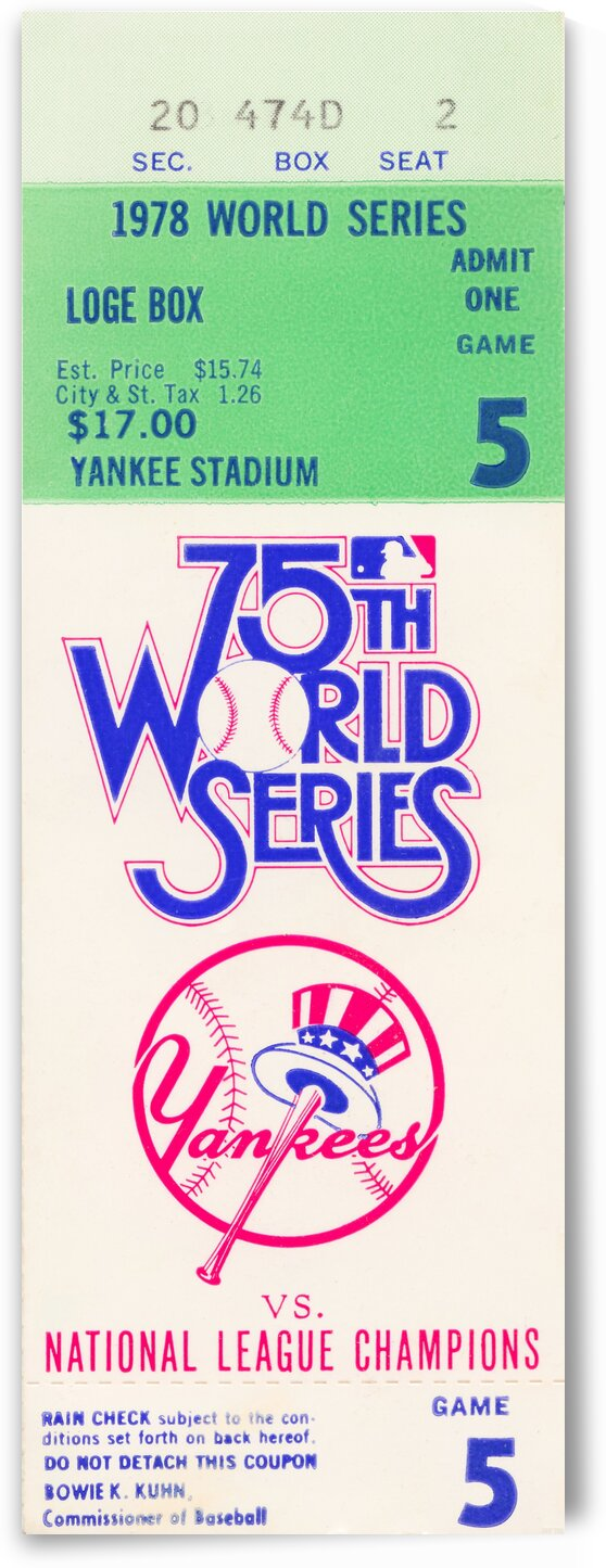 1978 World Series Ticket Art by Row One Brand