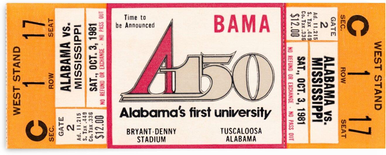 1981 Alabama Football Ticket Canvas Art by Row One Brand