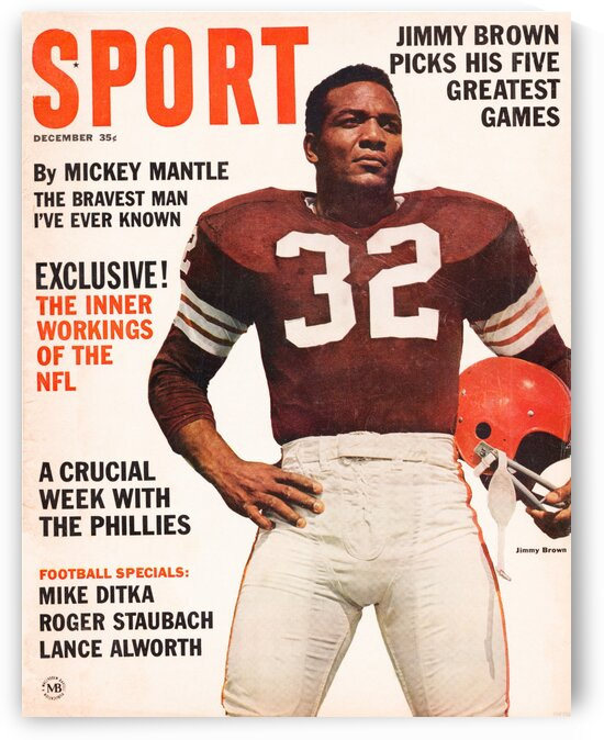 1964 Sport Magazine Jim Brown Cover Art by Row One Brand