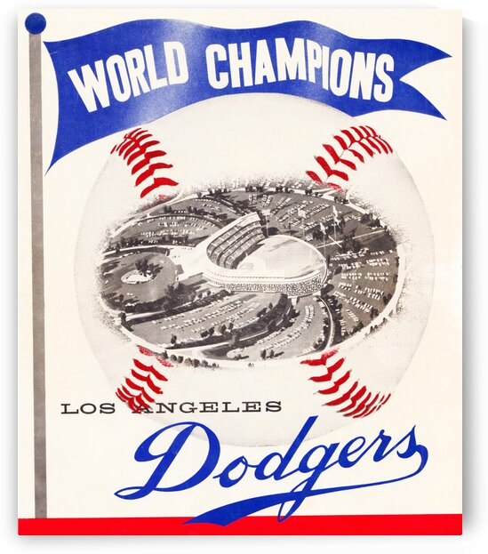 1960 Los Angeles Dodgers Baseball Art by Row One Brand