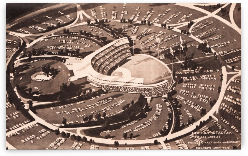 1959 Dodger Stadium Architecture Drawing by Row One Brand