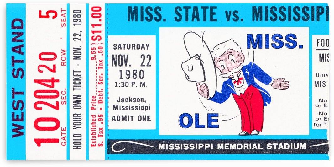 1980 Ole Miss vs. Miss State Football Ticket Stub Art by Row One Brand