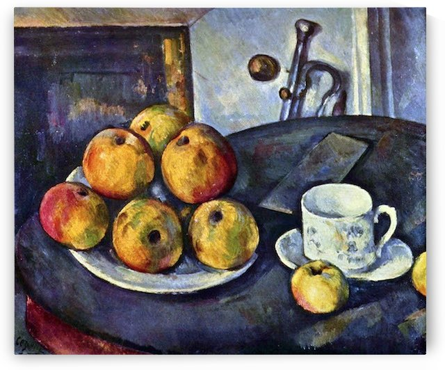 Still life with a bottle and apple cart by Cezanne by Cezanne