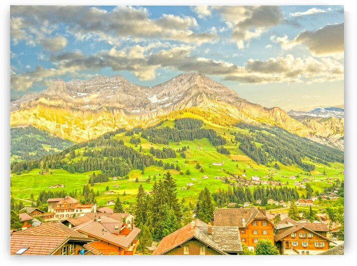 Golden Rays of the Sun in the Mountains Alpine Village Switzerland by 1North