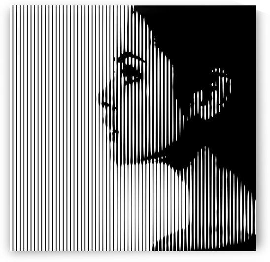 Female profile. Graphic stylized illustration by Aquamarine