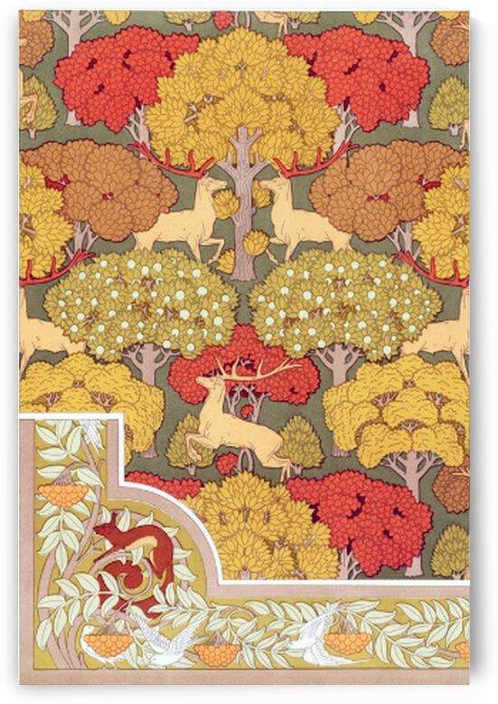 Cerfs et arbres papier peint. Ecureuil oiseaux et sorbier bordure from Lanimal dans la decoration 1897 illustrated by Mutlu Topuz