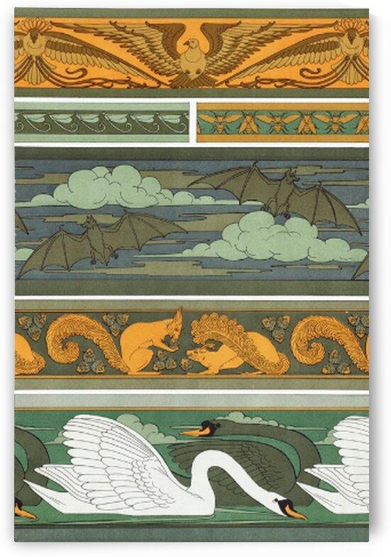 Oiseaux. Libellules. Mouches. Chauve-souris. Ecureuils et noisettes. Cygnes bordures from Lanimal dans la decoration 1897 illustrated by Mutlu Topuz