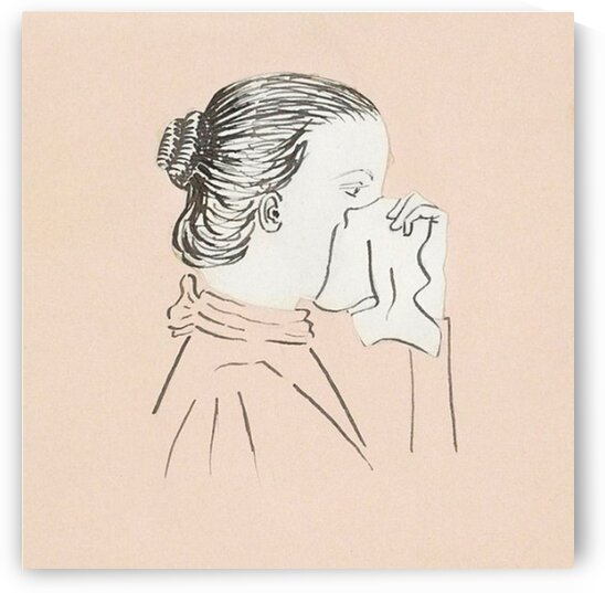 Head of a woman with a handkerchief against her nose  by Mutlu Topuz