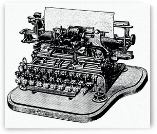 Vintage Victorian style retro typewriter engraving. by Mutlu Topuz