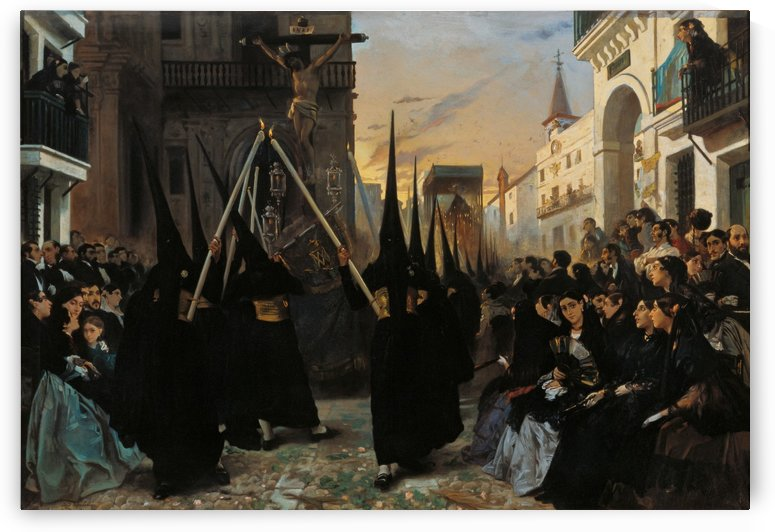 A Confraternity in Procession along Calle Genova by Alfred Dehodencq