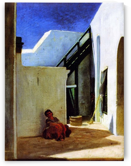 Interior of a Moroccan Courtyard 1860 by Alfred Dehodencq