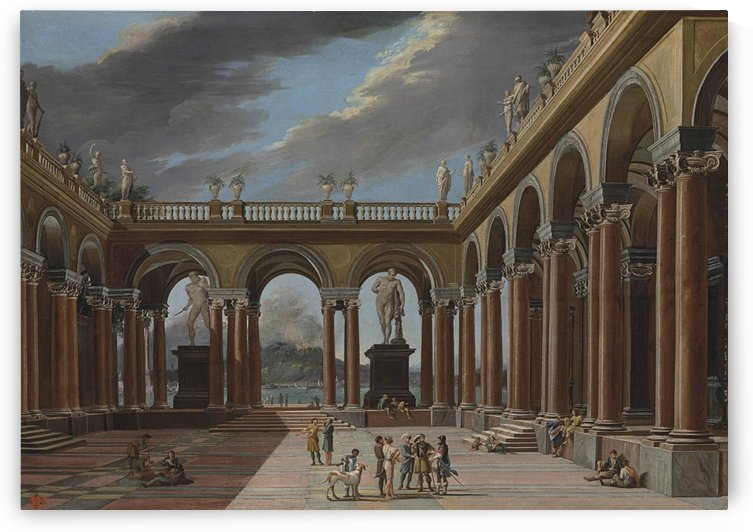 An architectural capriccio of a loggia with elegantly-dressed figures, the sea and mountains beyond by Viviano Codazzi