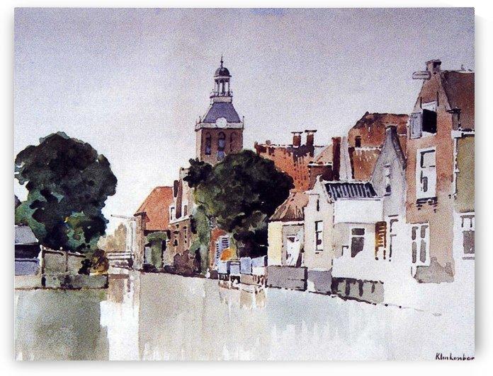 Gracht in Meppel met kerk by Johannes Klinkenberg