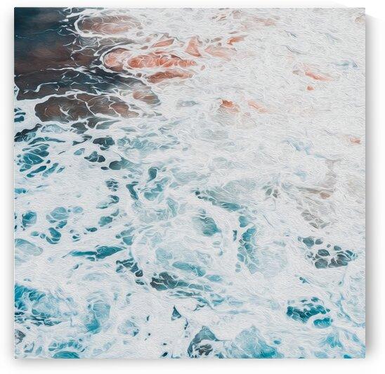 Sea foam and waves.  Oil painting imitation.  by Ievgeniia Bidiuk