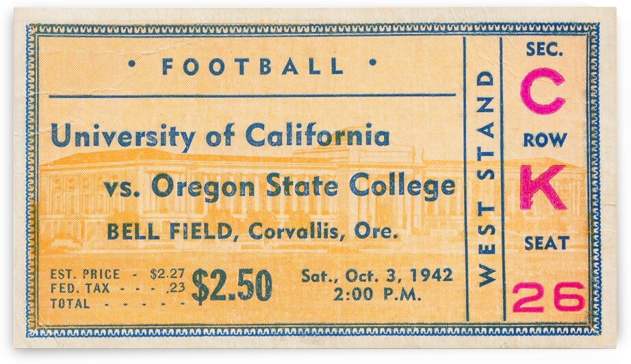 1942 Oregon State vs. California Ticket Stub Art by Row One Brand