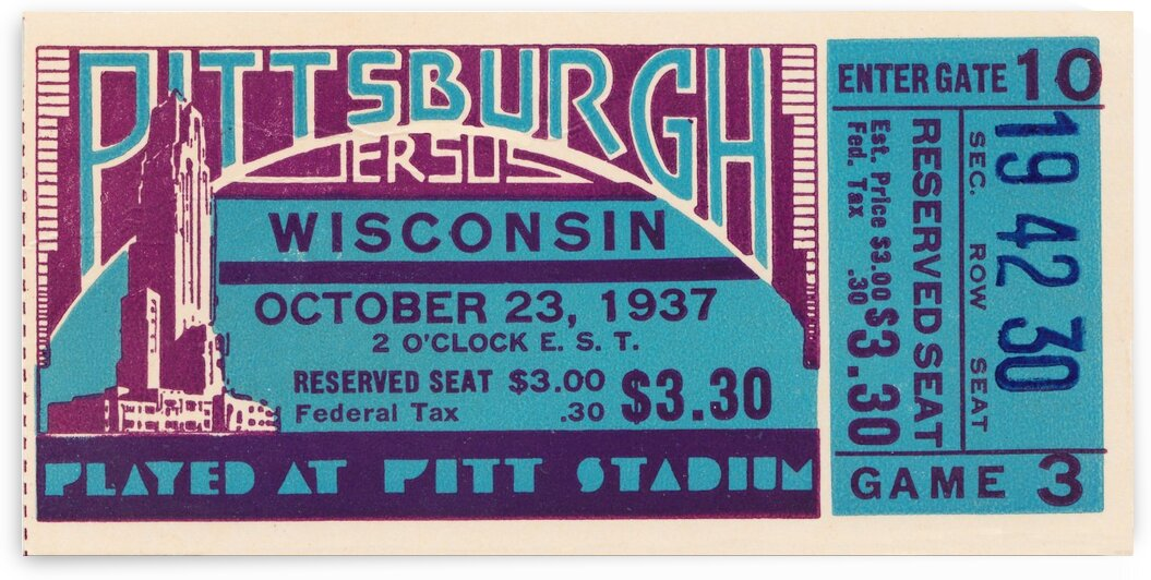 1937 Pittsburgh vs. Wisconsin Ticket Art by Row One Brand