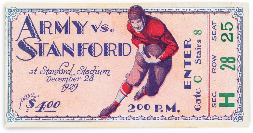 1929 Stanford Football Ticket Stub Art by Row One Brand