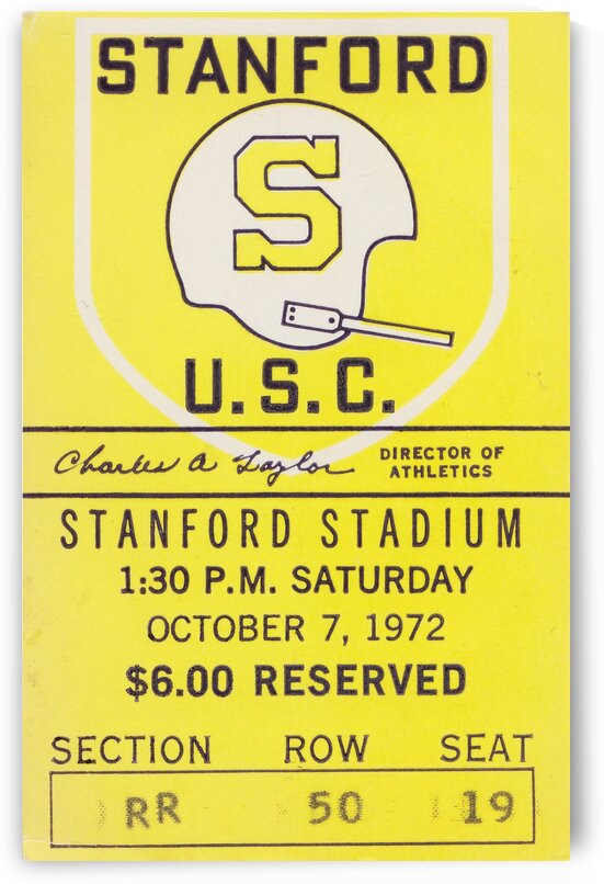 1972 Stanford vs. USC Ticket Stub Art by Row One Brand
