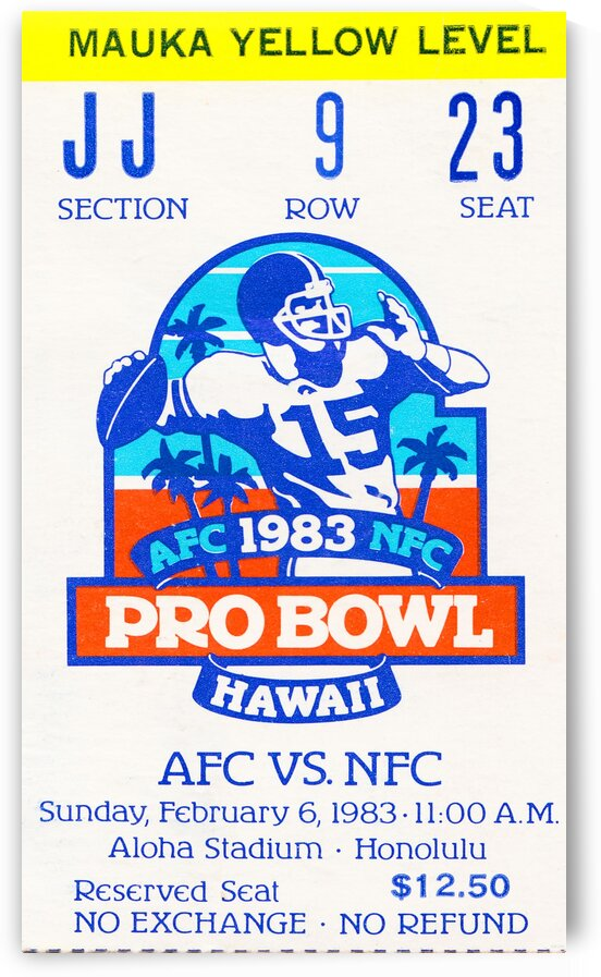 1983 Pro Bowl Ticket Stub Wall Art by Row One Brand