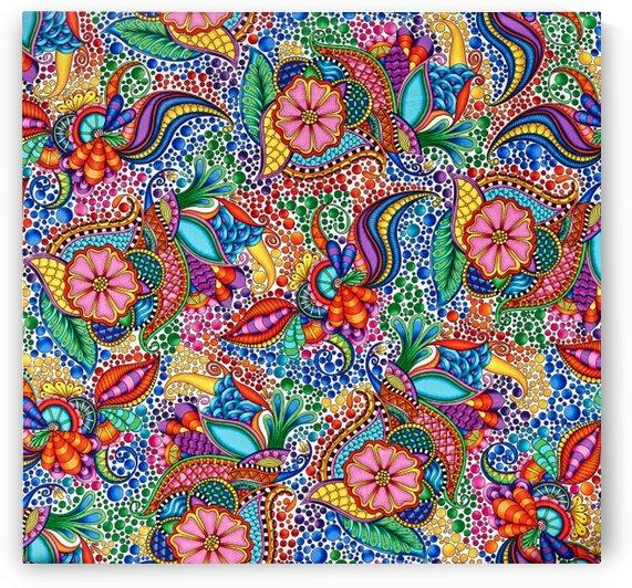 QT Fabrics Carnivale Floral Geometric White-Multi by Mutlu Topuz