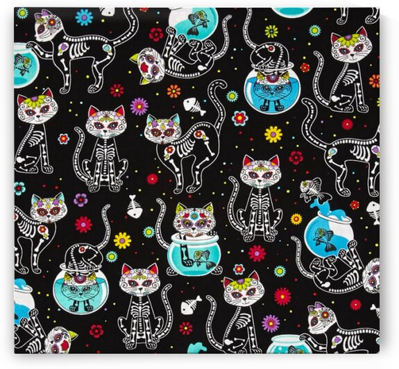 Timeless Treasures Day Of The Dead Kitty Black by Mutlu Topuz