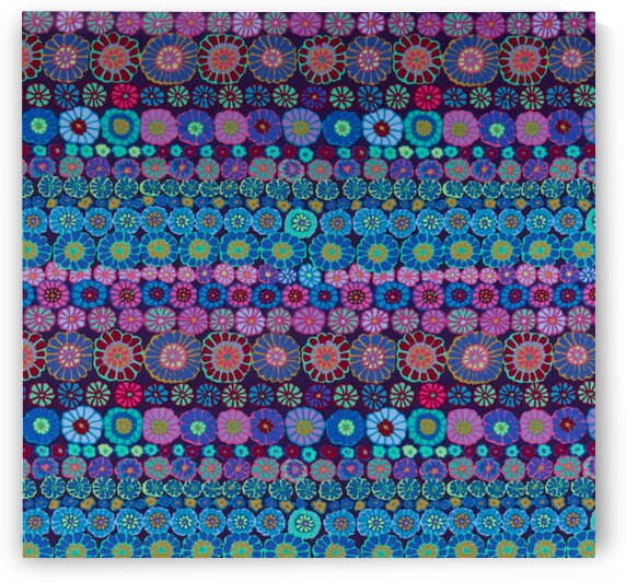 Kaffe Fassett Collective Row Flowers Blue by Mutlu Topuz