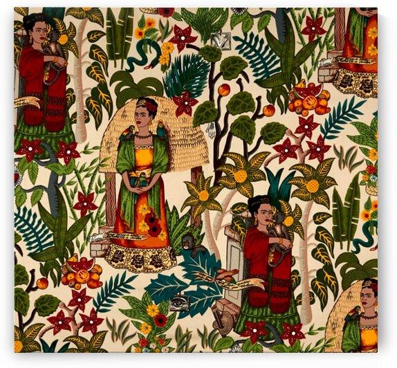 Alexander Henry Fridas Garden Canvas Tea Dye by Mutlu Topuz