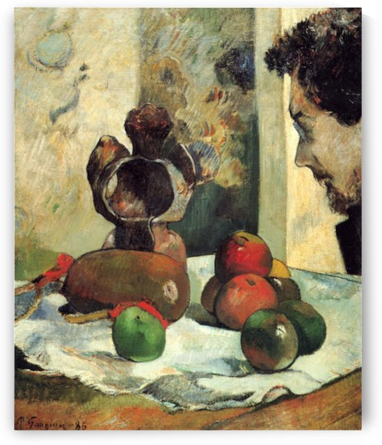 Still Life with Profile of Charles Lavall by Gauguin by Gauguin