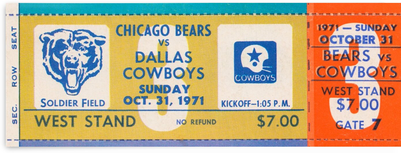 1971 Chicago Bears vs. Dallas Cowboys Ticket Art by Row One Brand