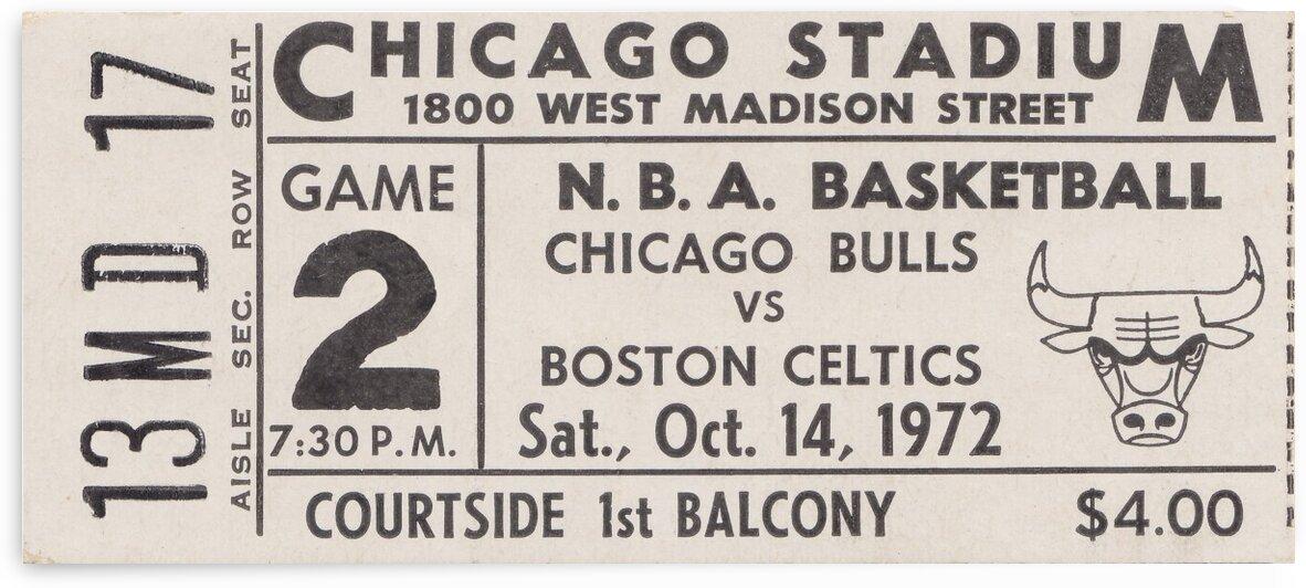 1972 Chicago Bulls vs. Boston Celtics Ticket Stub Art by Row One Brand