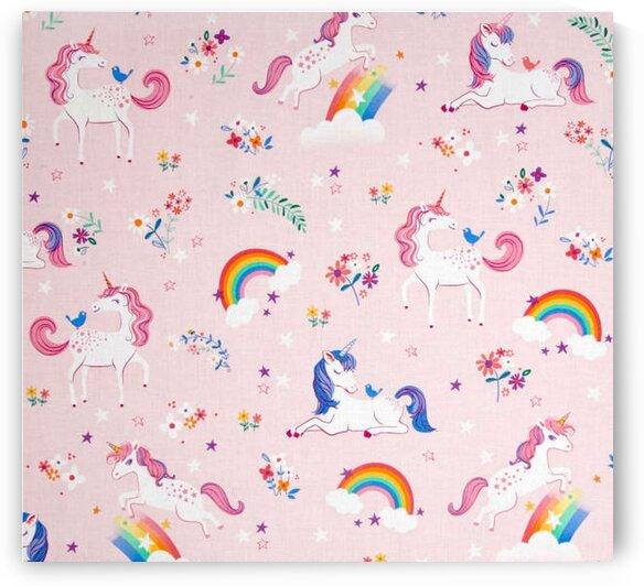 Little Unicorns Unicorns Rainbows- Pink by Mutlu Topuz
