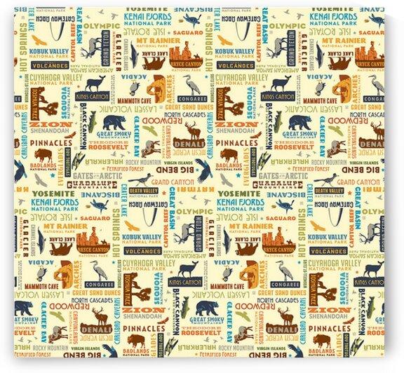 National Parks Word Print Cream by Mutlu Topuz