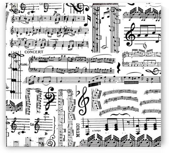 Musical Music Sheets White by Mutlu Topuz