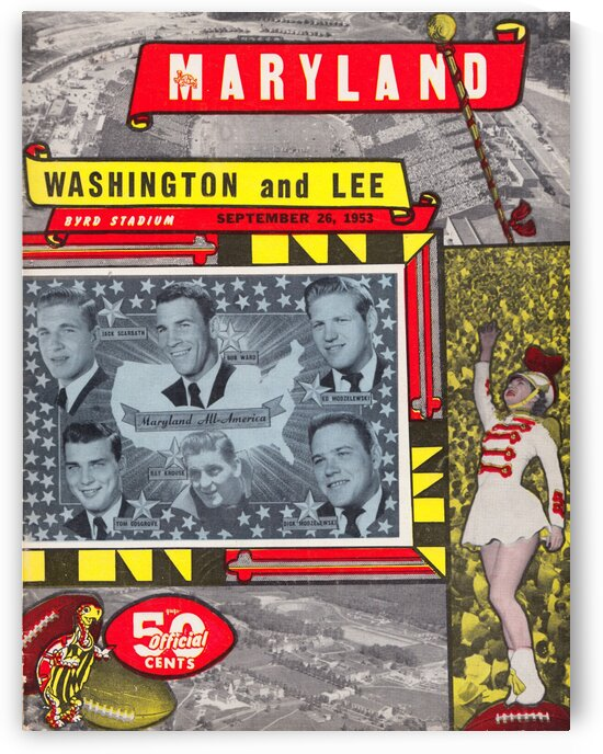 1953 Maryland Football Program Cover Art Poster by Row One Brand