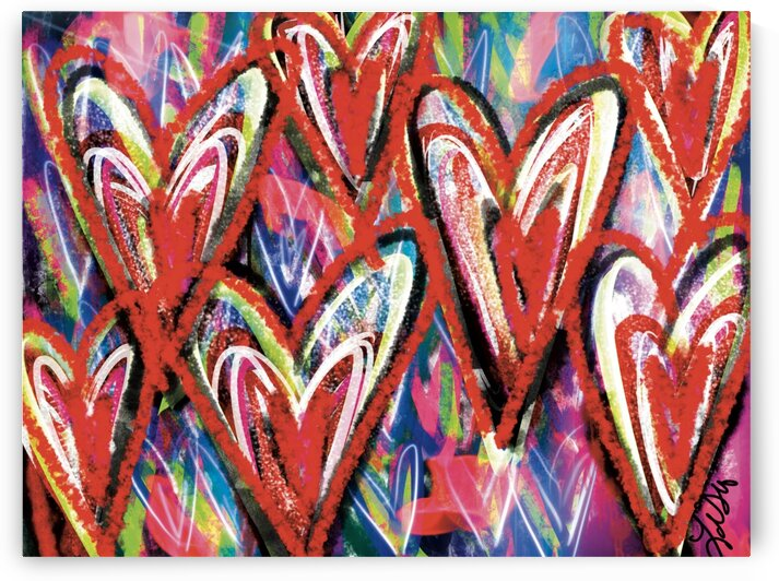 DIGITAL ILLUSTRATION - Red Hearts by Lisa Shavelson