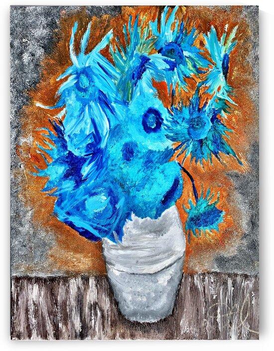 Blue Sunflowers Original  by Darnell Clayton
